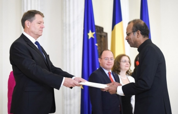 Ambassador Dr. A.V.S. Ramesh Chandra presented his Credentials to Romanian President H.E. Klaus Iohannis today, 4 November 2016 at the magnificent Cotroceni Palace in Bucharest
