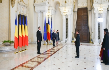 On 15 March 2018, Ambassador Mr. Thanglura Darlong presented his Credentials to H.E. Mr. Klaus Iohannis, President of Romania, at the Cotroceni Presid