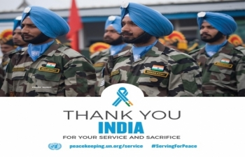 Thanking India for its contribution in the UN Peace Keeping Forces