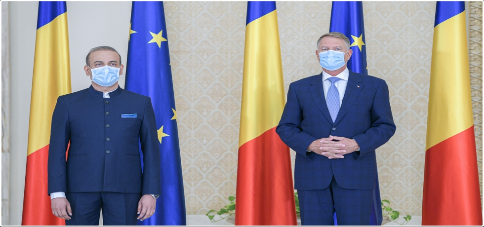 Ambassador Rahul Shrivastava presented credentials to President of Romania on 29 July 2020